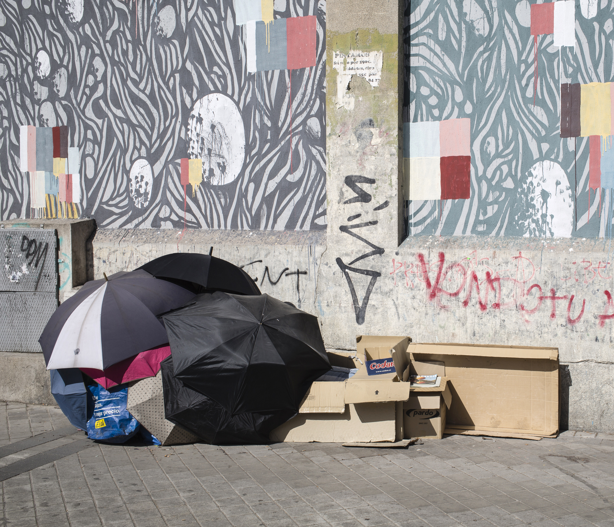 umbrella shelter in the streets of Madrid