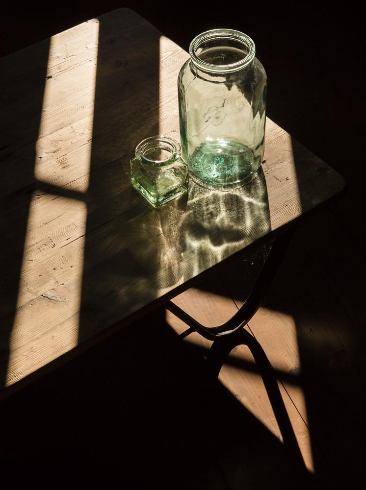 vintage glass on vintage wood